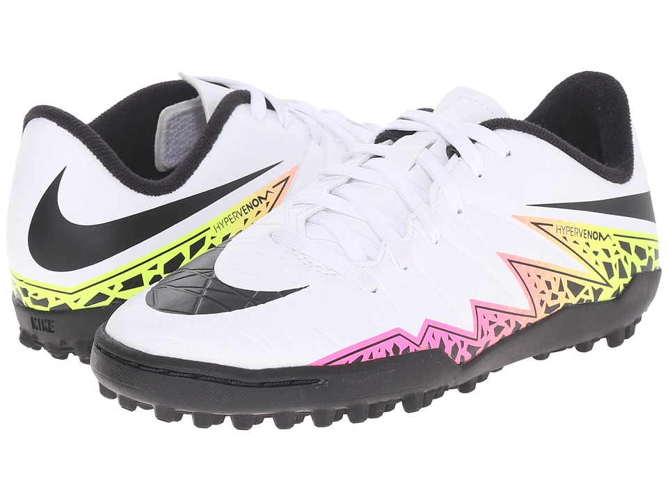 Nike Kids - Jr Hypervenom Phelon II TF Soccer (Toddler/Little Kid/Big Kid) (White/Total Orange/Volt/Black) Kids Shoes