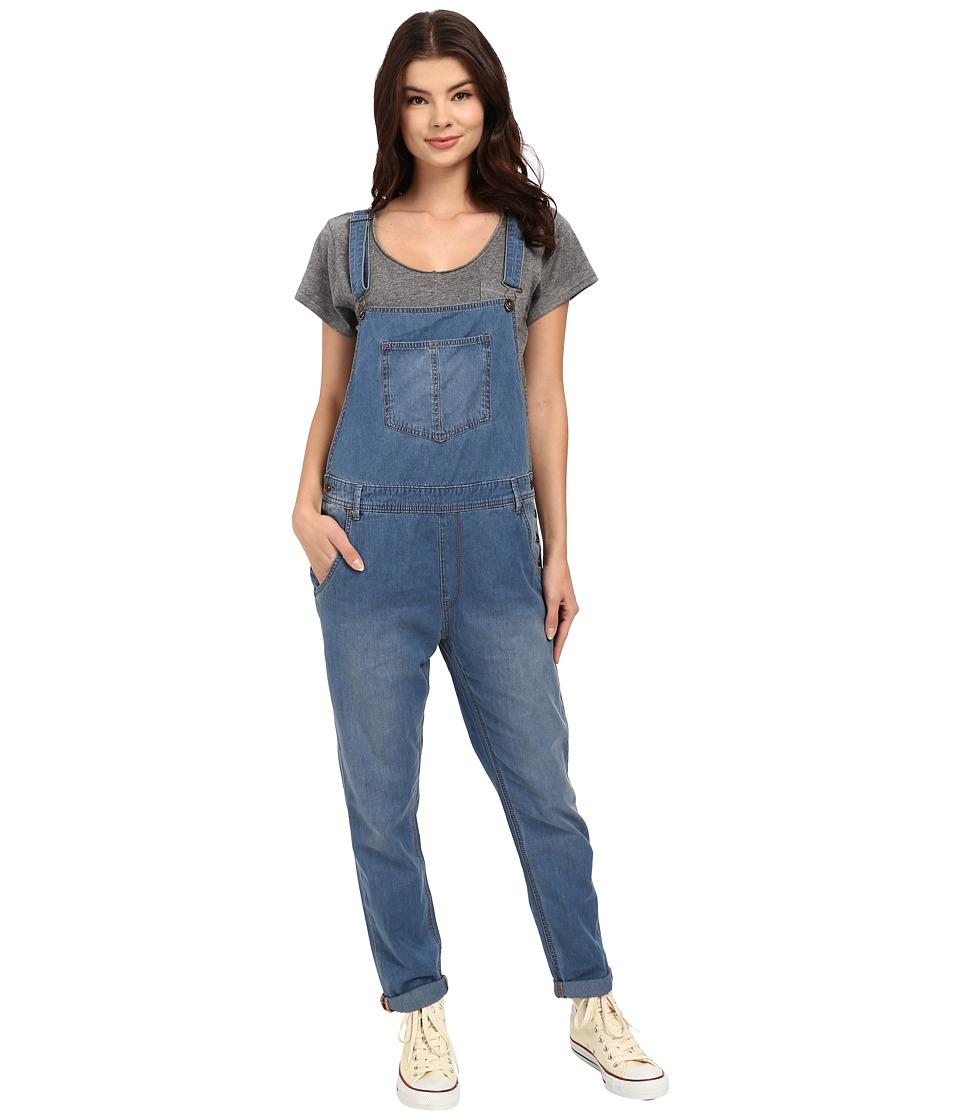 Roxy - Sea Foam Denim Overalls (Medium Blue Wash) Women