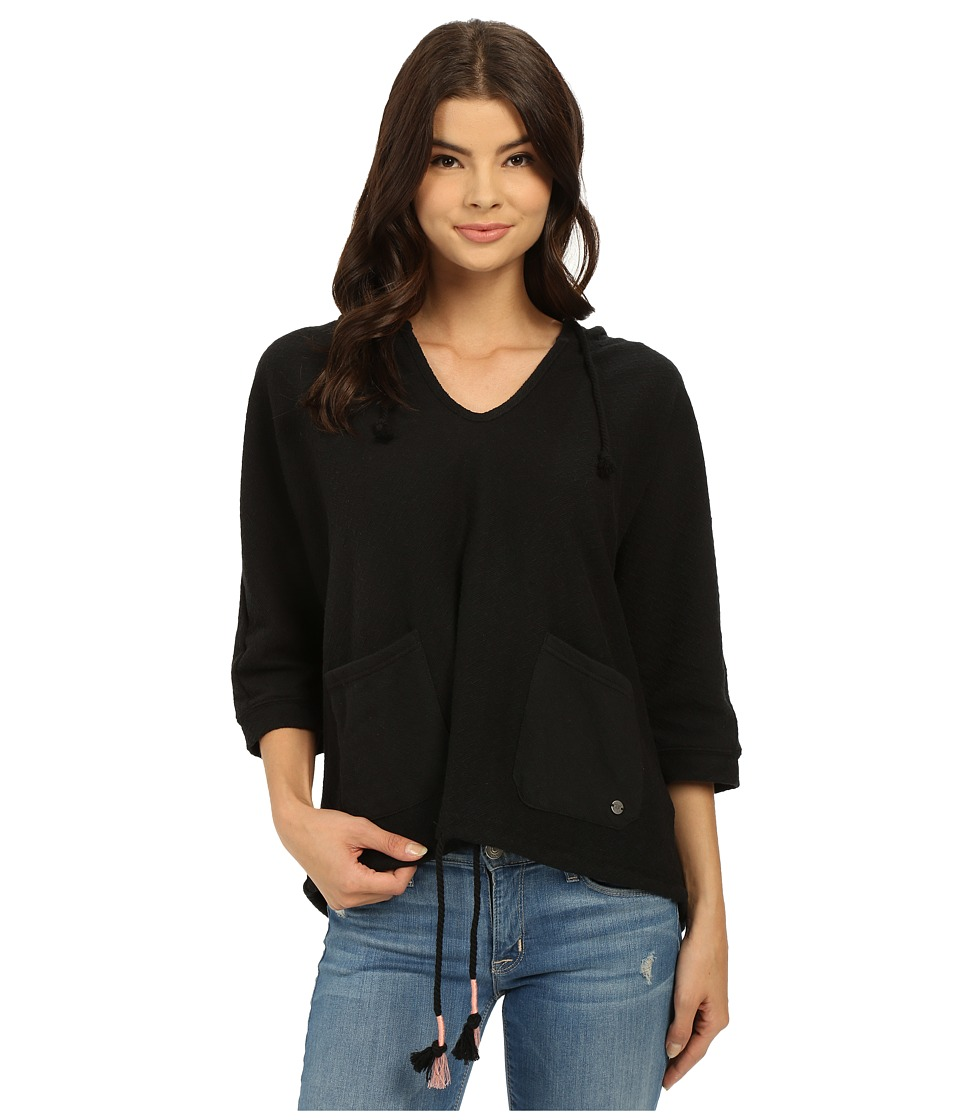 Roxy Roc Me Out Short Sleeve Hoodie (True Black) Women