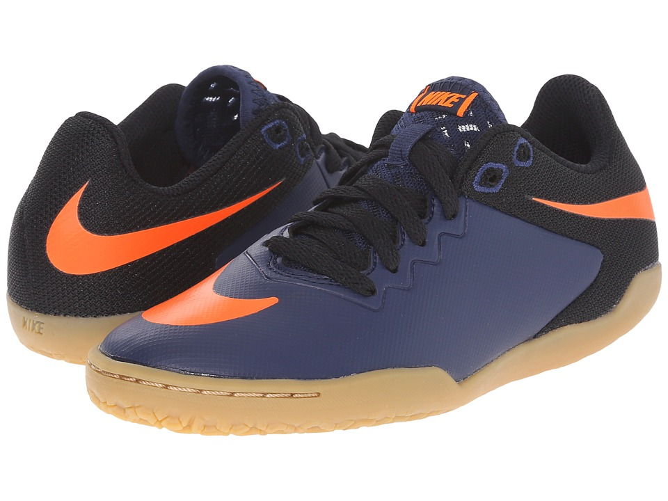 Nike Kids - JR Hypervenomx Pro IC Soccer (Little Kid/Big Kid) (Midnight Navy/Black/Gum/Light Brown/Total Orange) Kids Shoes