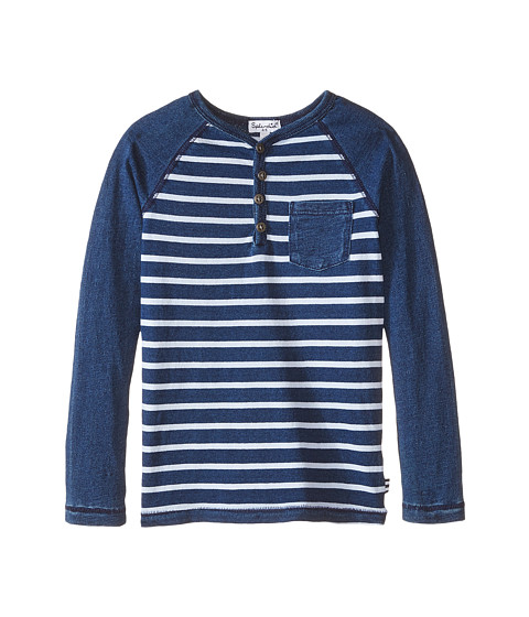 Splendid Littles - Knit Stripe Henley (Little Kids) (Indigo) Boy's T Shirt