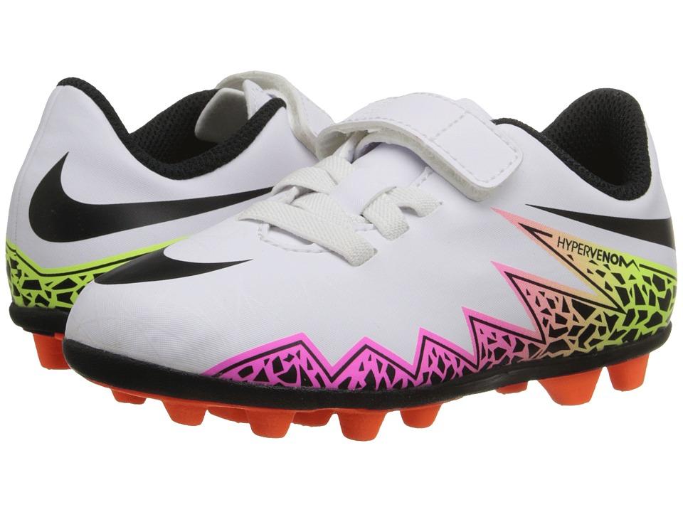 Nike Kids - Jr Hypervenom Phade II (V) FGR Soccer (Toddler/Little Kid) (White/Total Orange/Volt/Black) Kids Shoes