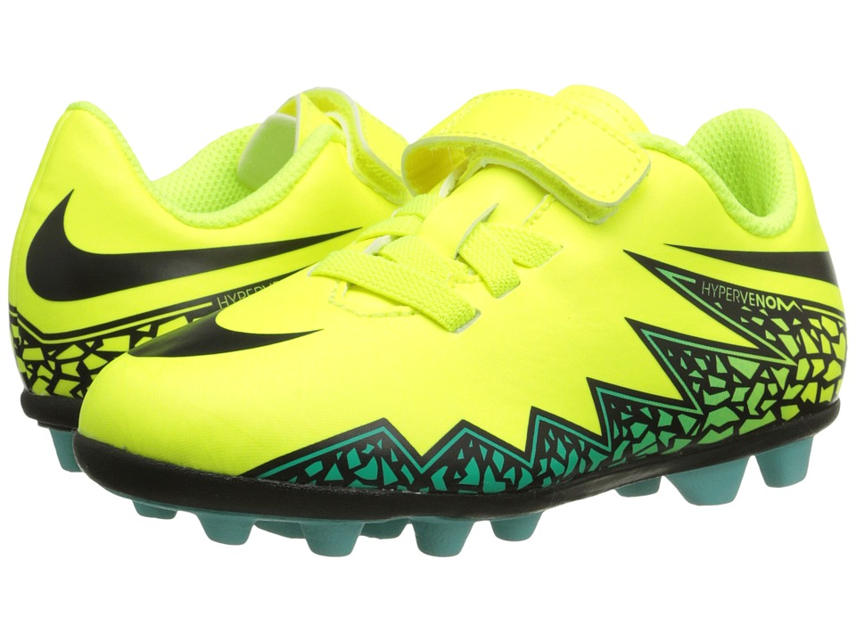 Nike Kids - Jr Hypervenom Phade II (V) FGR Soccer (Toddler/Little Kid) (Volt/Hyper Turquoise/Clear Jade/Black) Kids Shoes