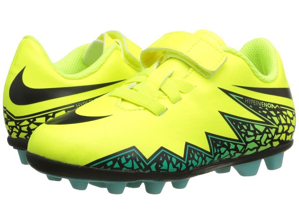 Nike Kids - Jr Hypervenom Phade II (V) FGR Soccer (Toddler/Little Kid) (Volt/Hyper Turquoise/Clear Jade/Black) Kids Shoes