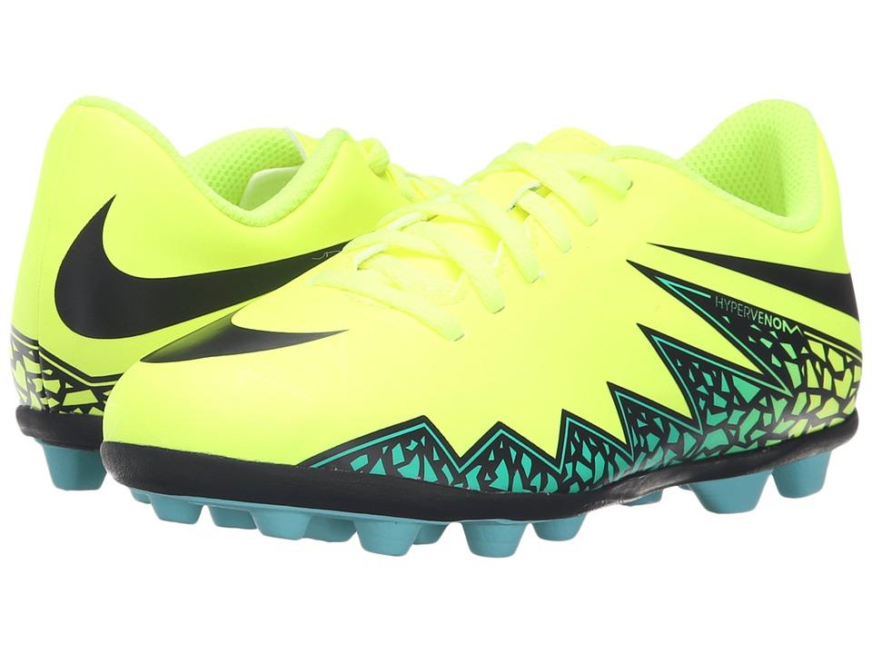 Nike Kids - Jr Hypervenom Phade II FG-R Soccer (Little Kid/Big Kid) (Volt/Hyper Turquoise/Clear Jade/Black) Kids Shoes