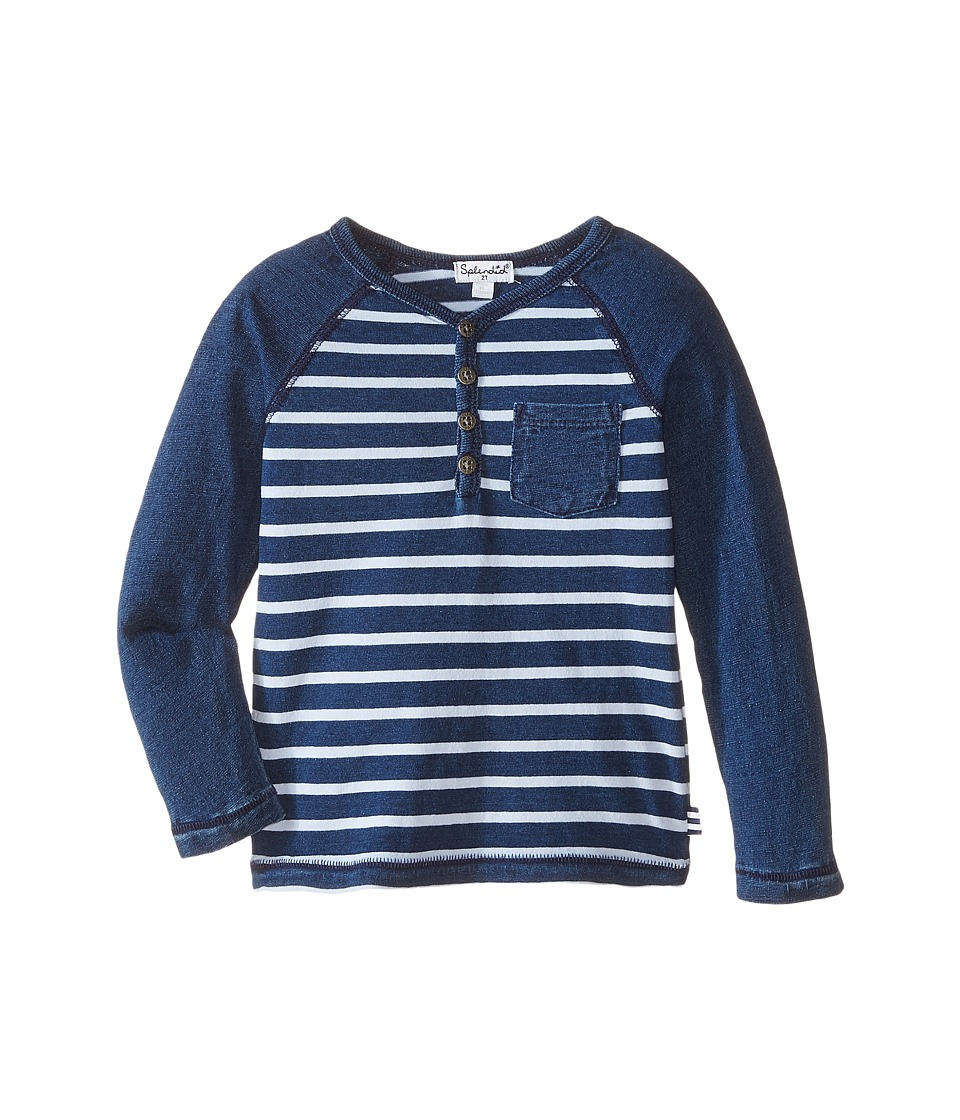 Splendid Littles - Knit Stripe Henley (Toddler) (Indigo) Boy's T Shirt