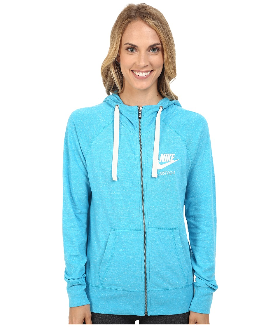 Nike - Gym Vintage Full Zip Hoodie (Omega Blue/Sail) Women's Sweatshirt