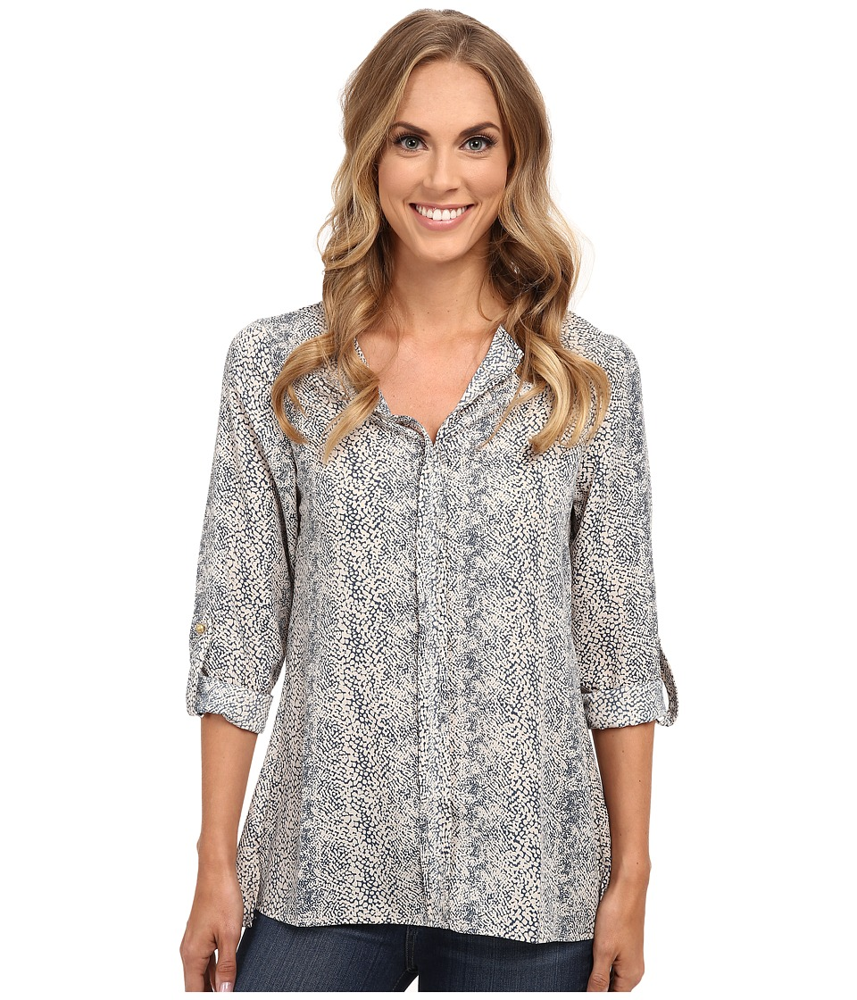 B Collection by Bobeau - Pleat Back Woven Blouse (Blue Snake Print) Women's Blouse