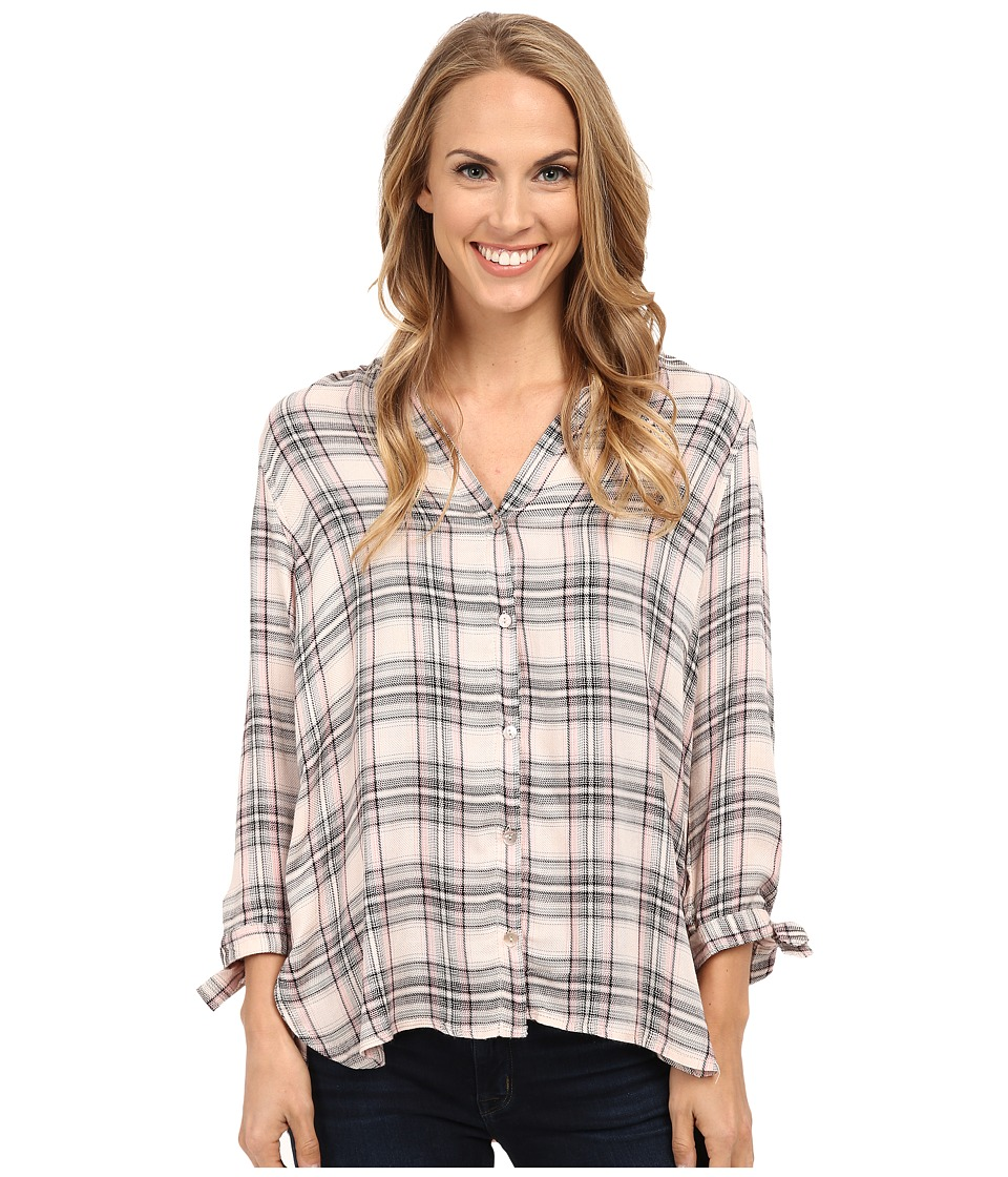 B Collection by Bobeau - Plaid Blouse w/ Tie Sleeve (Pink Plaid) Women's Blouse