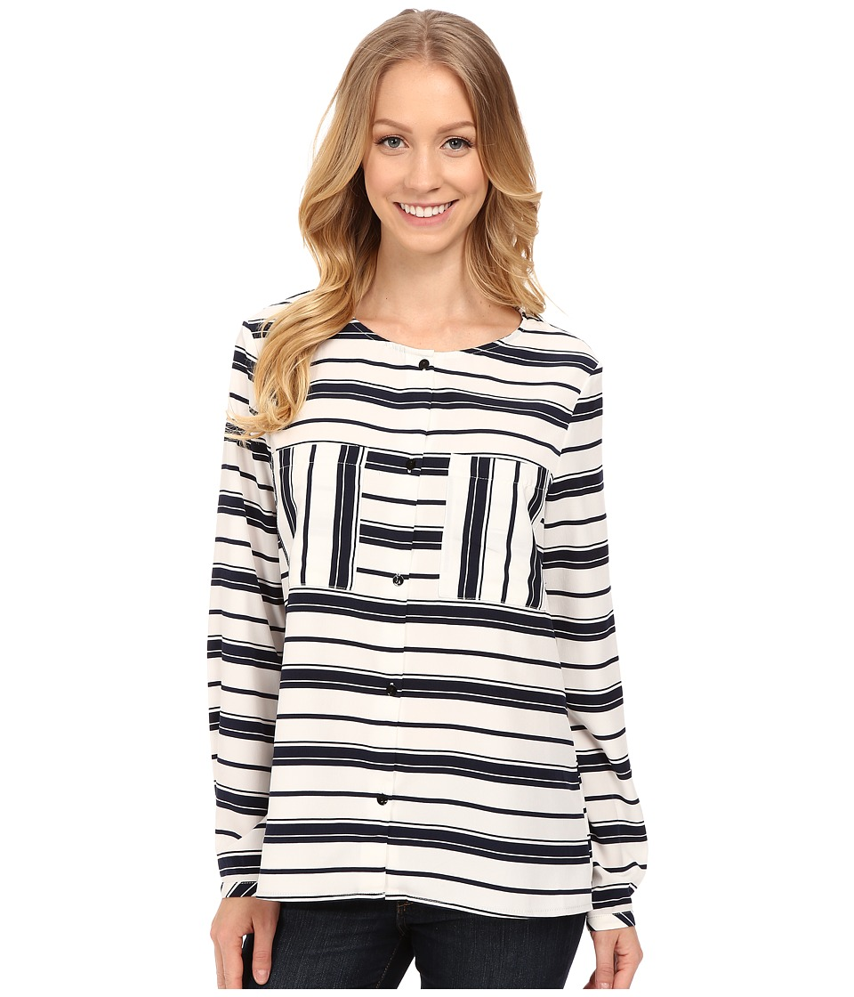 B Collection by Bobeau - Stripe Blouse w/ Pockets (Navy Ivory) Women's Blouse