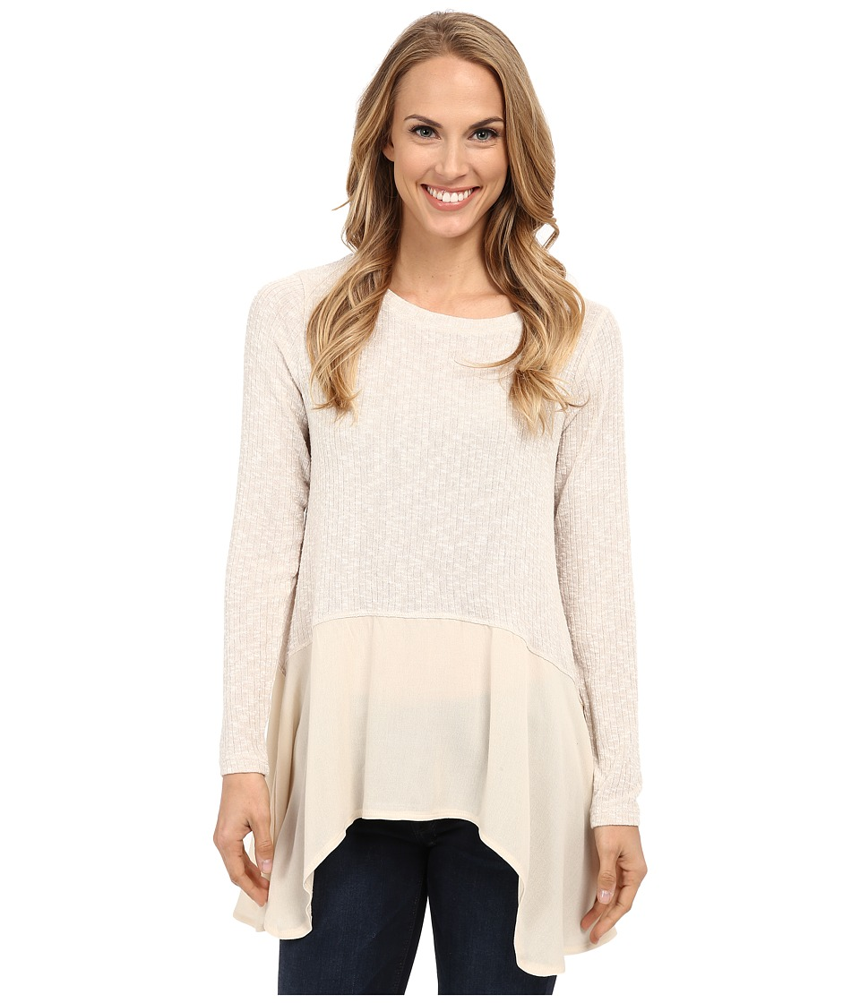 B Collection by Bobeau - Mixed Media Long Sleeve (Natural) Women's T Shirt
