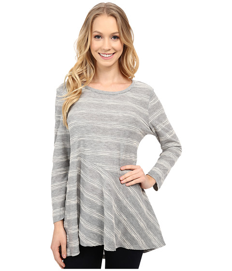 Bobeau - Novelty Stripe T-Shirt (Grey) Women's T Shirt