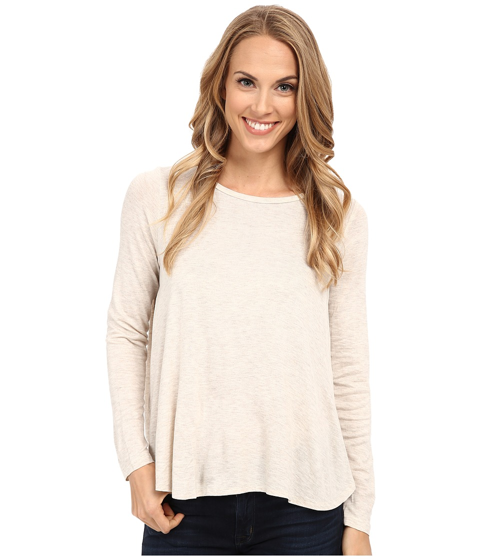 B Collection by Bobeau - Pleat Back Knit T-Shirt (Oatmeal) Women's T Shirt