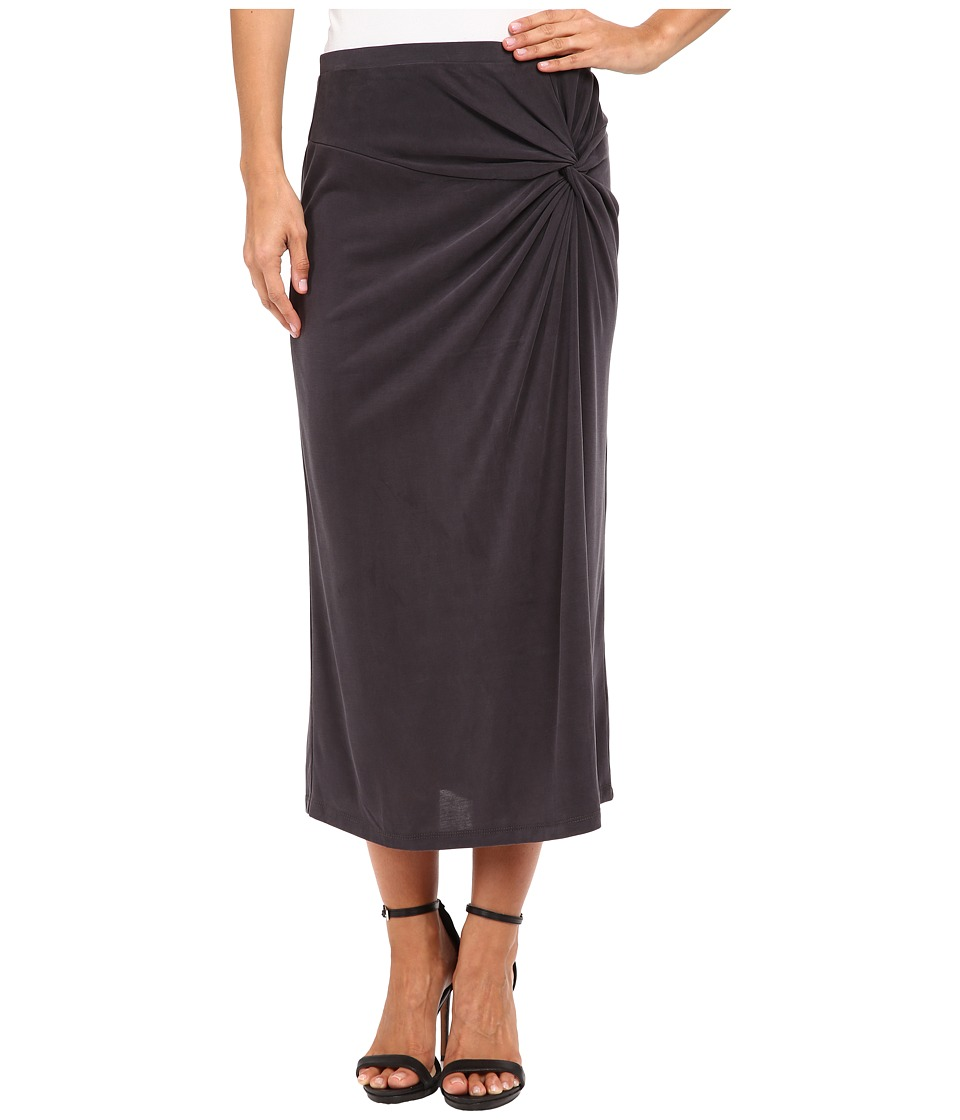 B Collection by Bobeau - Side Knot Midi Skirt (Charcoal) Women's Skirt