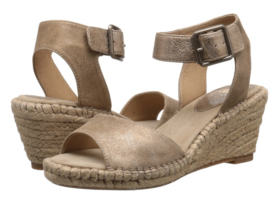 Johnston & Murphy - Angela Ankle Strap (Gold Italian Soft Metallic Suede) Women