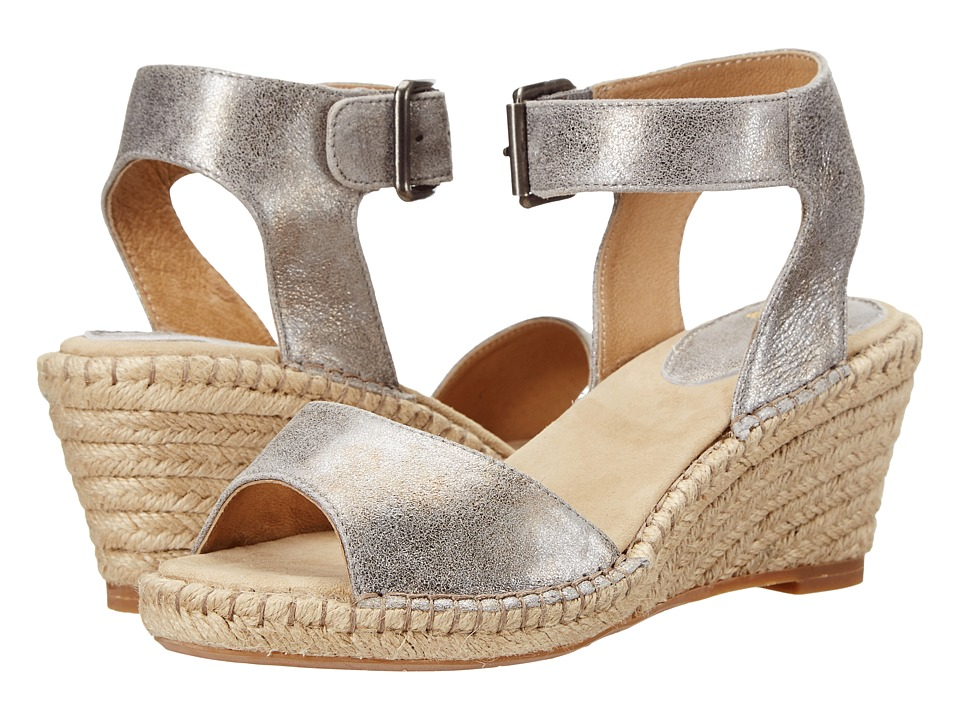 Johnston & Murphy - Angela Ankle Strap (Silver Italian Soft Metallic Suede) Women's Sandals