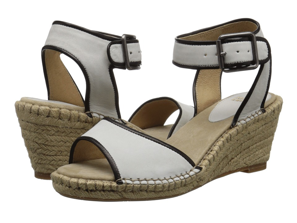 Johnston & Murphy - Angela Ankle Strap (White Nubuck/Black Italian Soft Calfskin) Women's Sandals