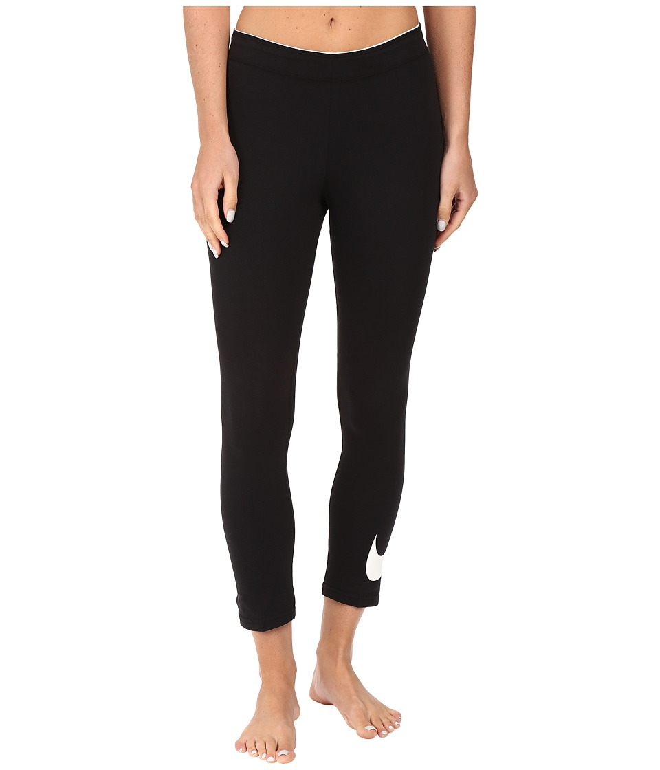 Nike - Club Cropped Leggings (Black/White) Women's Workout