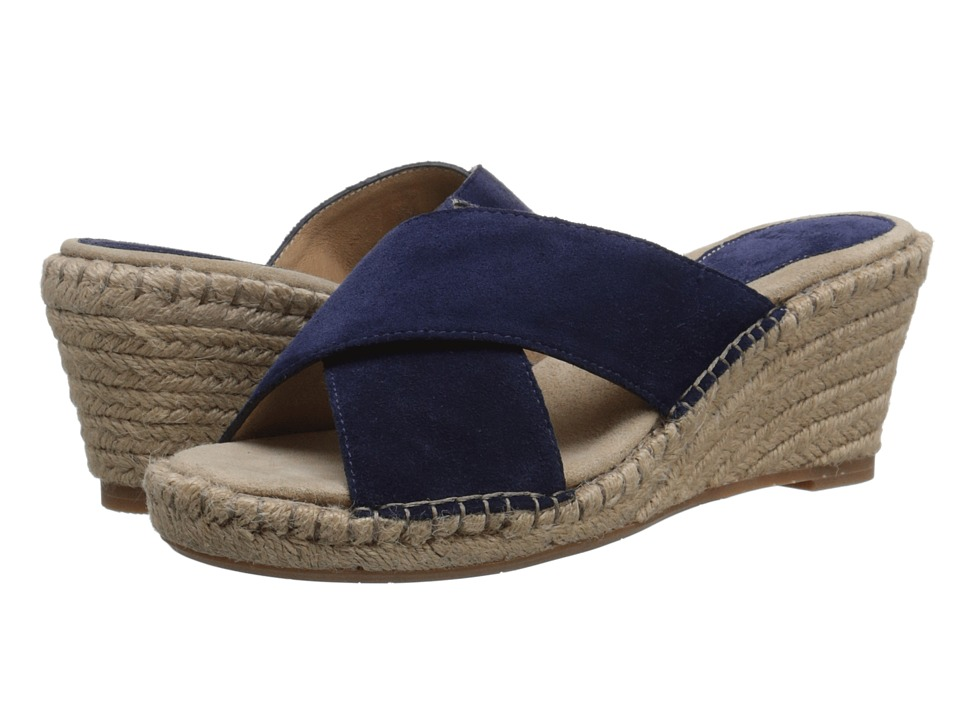 Johnston & Murphy - Arlene Cross Band (Navy Suede) Women's Sandals