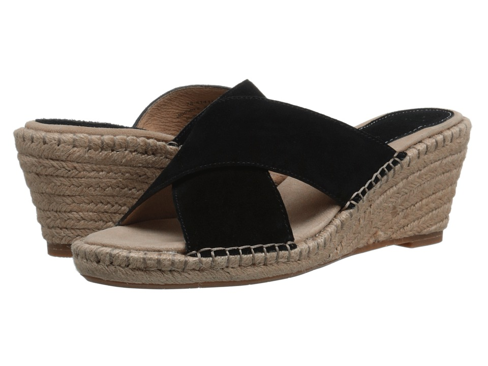 Johnston & Murphy - Arlene Cross Band (Black Suede) Women's Sandals
