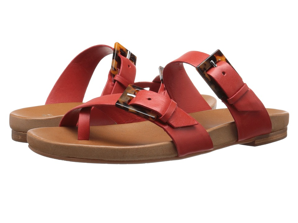 Johnston & Murphy - Jill Buckle Thong (Blood Orange Glove Leather) Women's Sandals