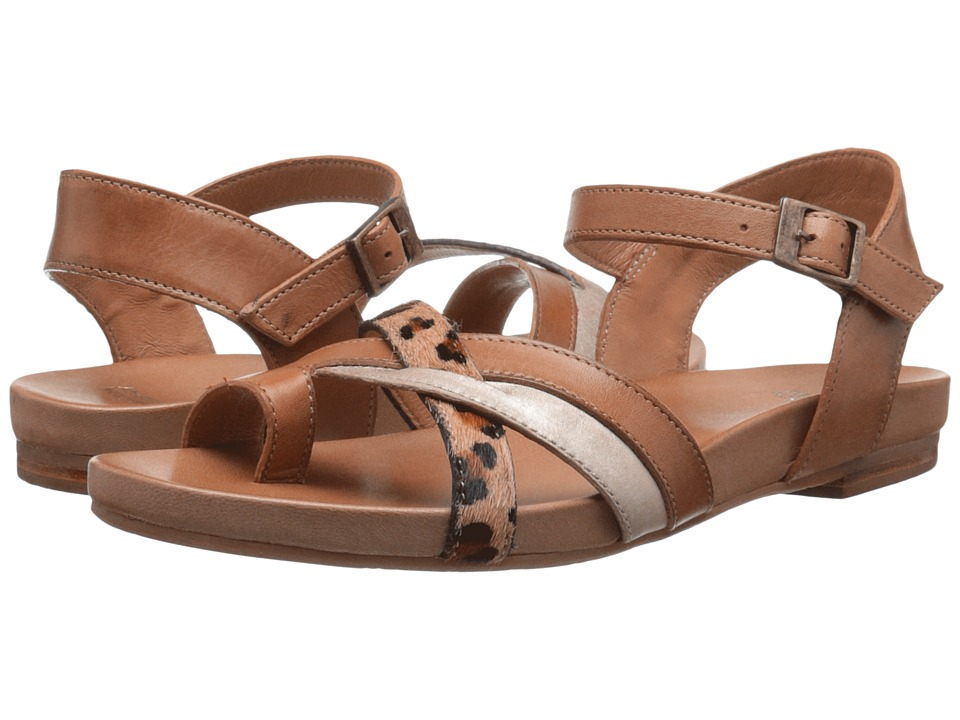 Johnston & Murphy Jessie Quarter Strap (Saddle Tan Leather/Gold Metallic Nappa/Tan Leopard Haircalf) Women