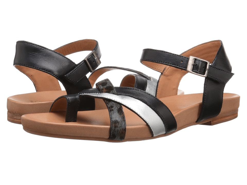 Johnston & Murphy - Jessie Quarter Strap (Black Leather/Silver Metallic Nappa/Gray Leopard Haircalf) Women's Sandals