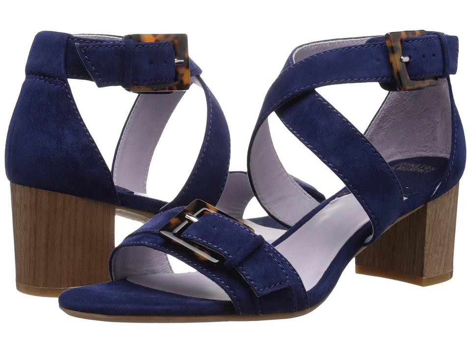 Johnston & Murphy - Katarina Reverse Ankle Strap (Navy Kid Suede) High Heels