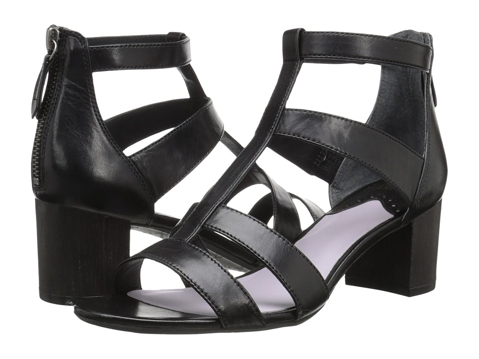 Johnston & Murphy - Kallie Back Zip Sandal (Black Italian Soft Calfskin) High Heels