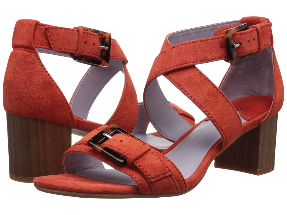 Johnston & Murphy - Katarina Reverse Ankle Strap (Orange Kid Suede) High Heels