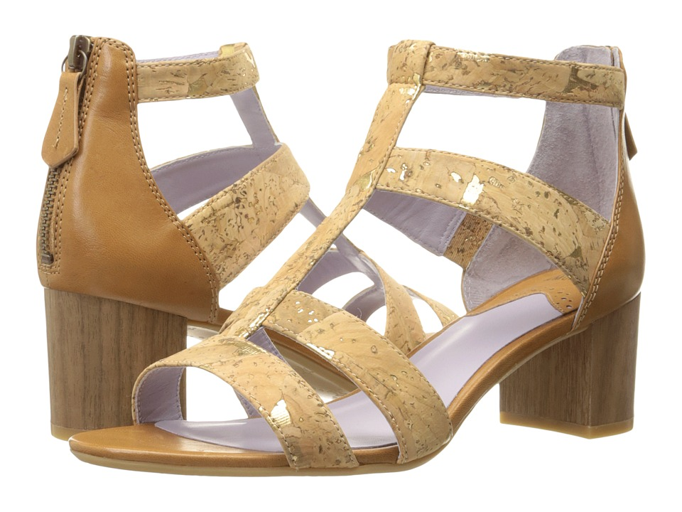 Johnston & Murphy - Kallie Back Zip Sandal (Natural Metallic Cork) High Heels