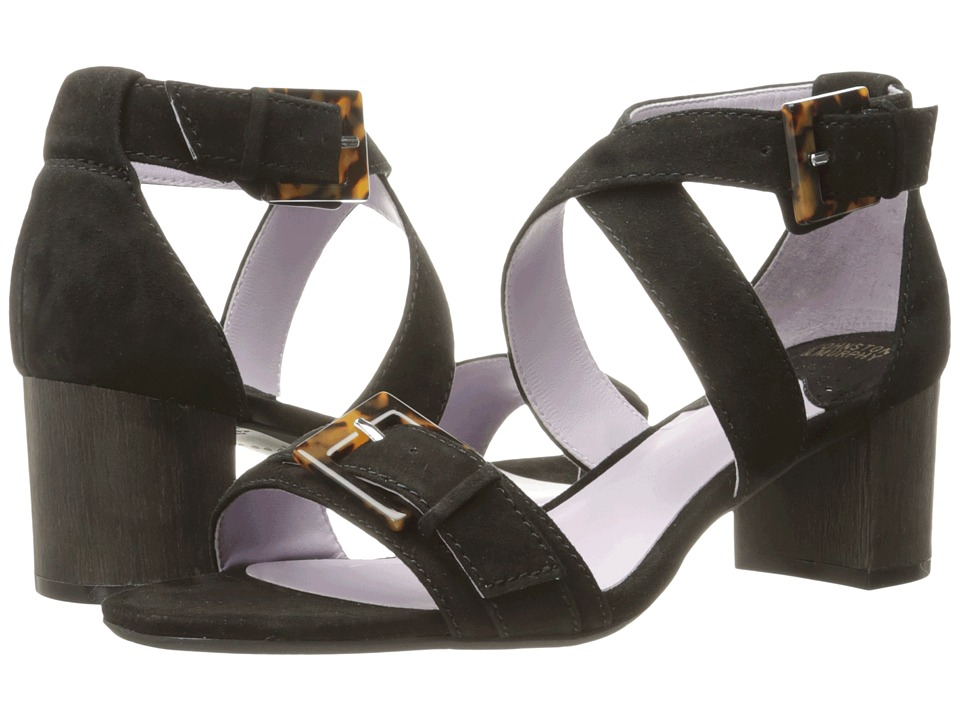 Johnston & Murphy - Katarina Reverse Ankle Strap (Black Kid Suede) High Heels