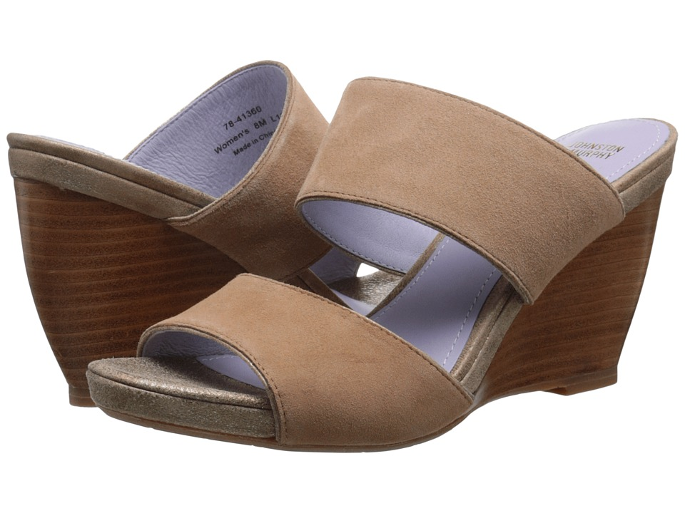Johnston & Murphy - Nisha Slide (Latte Kid Suede/Gold Italian Soft Metallic Suede) Women's Wedge Shoes