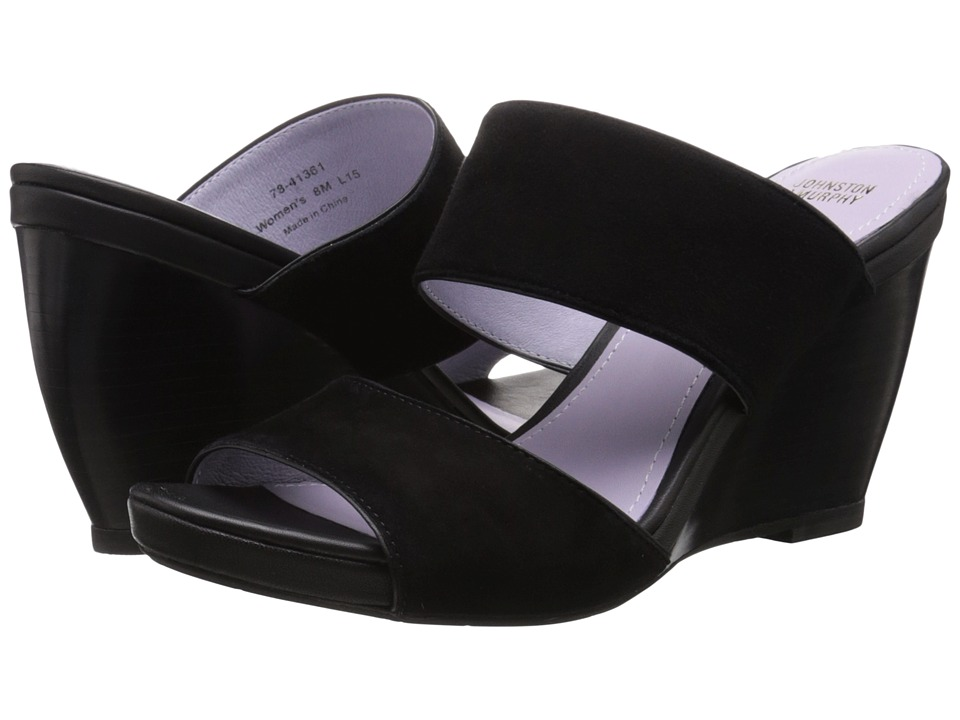 Johnston & Murphy - Nisha Slide (Black Kid Suede/Black Nappa) Women's Wedge Shoes