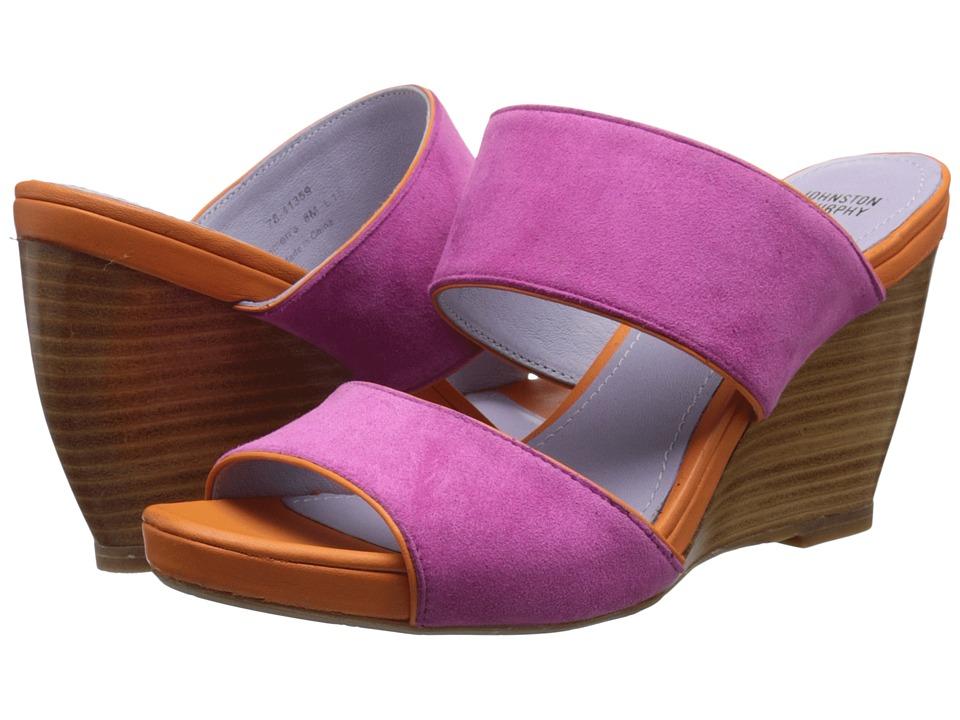 Johnston & Murphy - Nisha Slide (Azalea Kid Suede/Orange Nappa) Women's Wedge Shoes