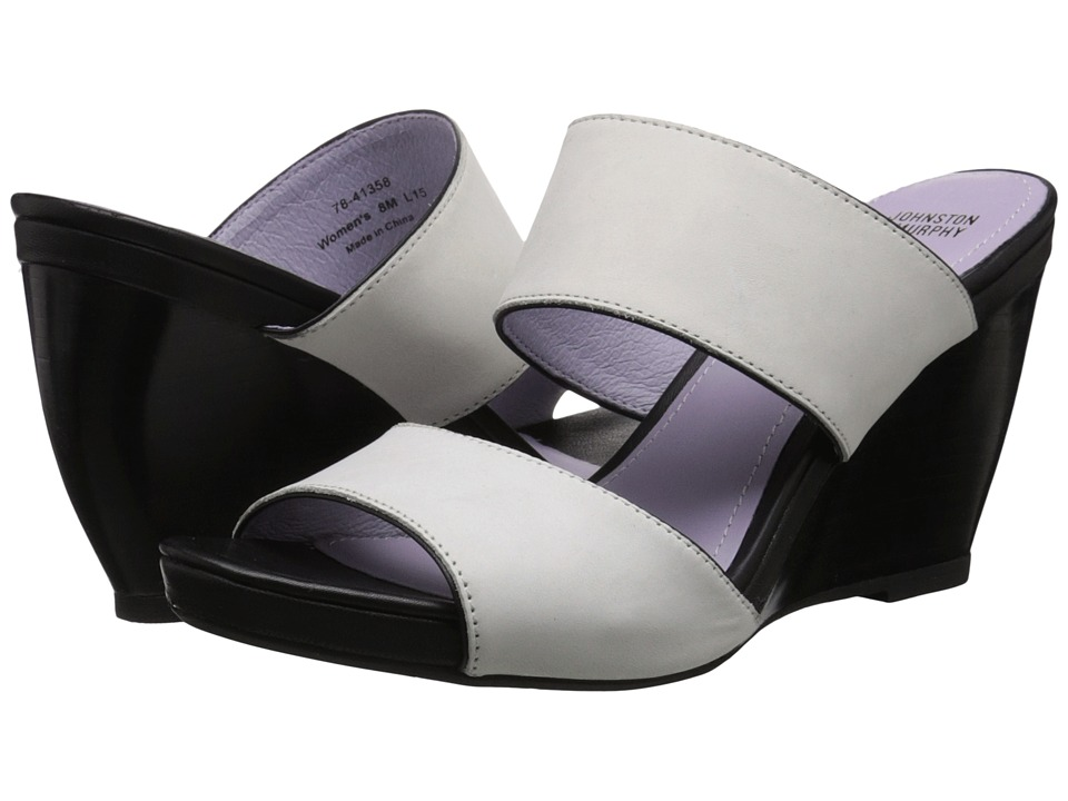 Johnston & Murphy - Nisha Slide (Off-White Nubuck/Black Nappa) Women's Wedge Shoes
