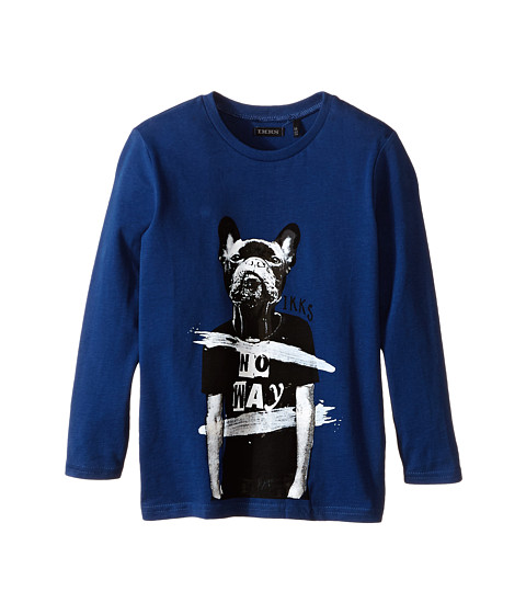 IKKS - Long Sleeve Tee with Cool Dog Graphic (Little Kids/Big Kids) (Indigo) Boy