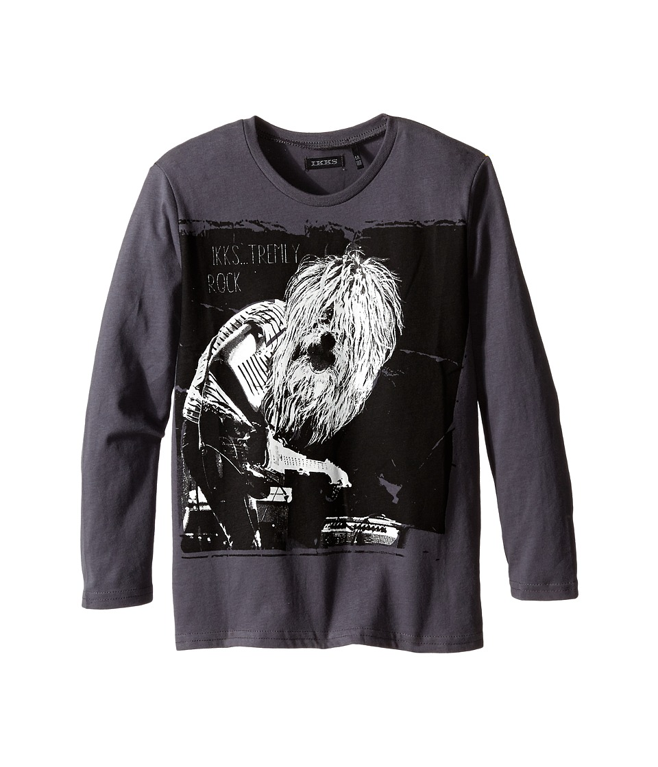 IKKS - Long Sleeve Tee with Cool Dog Graphic (Little Kids/Big Kids) (Anthracute) Boy