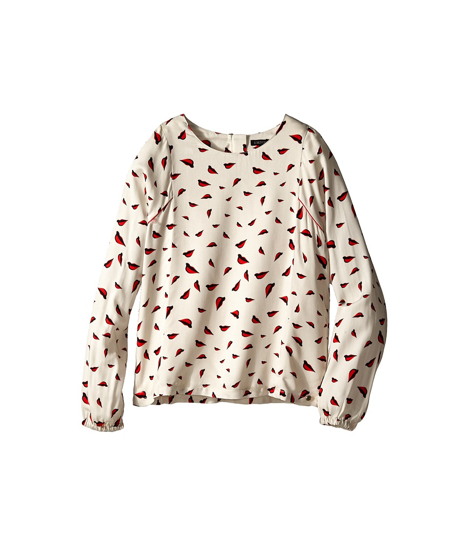 IKKS - Red Lips Ruffle Down Front Blouse (Little Kids/Big Kids) (Blanc Casse) Girl's Blouse
