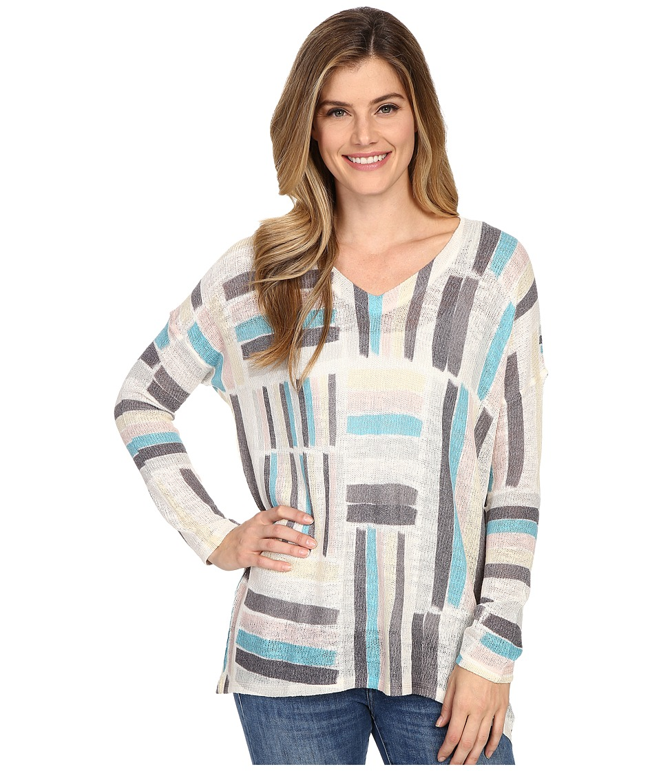 Nally & Millie - Patchwork V-Neck Top (Multi) Women's Clothing
