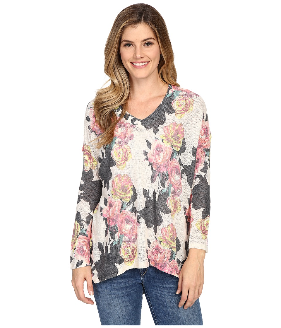 Nally & Millie - Floral V-Neck Top (Multi) Women's Clothing