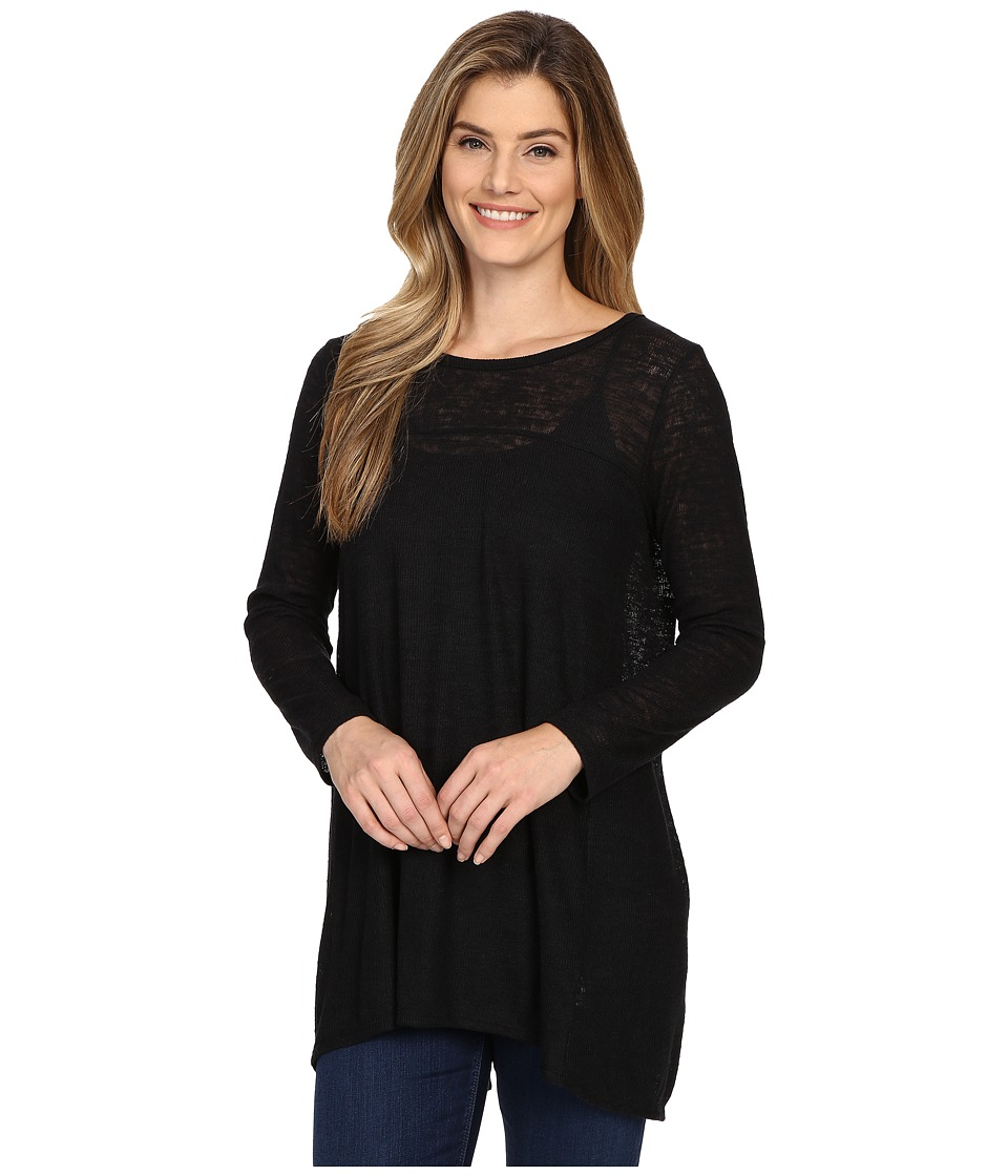 Nally & Millie - Long Sleeve Open Back Tunic w/ Underlayer (Black) Women's Clothing