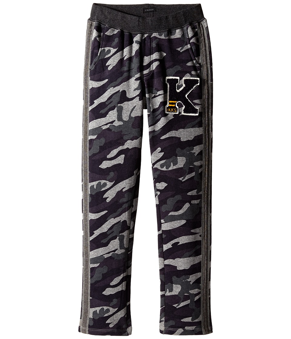 IKKS - Camo Print Sweat Jogger Pants with Chambray Strip (Little Kids/Big Kids) (Gris Chine) Boy's Casual Pants