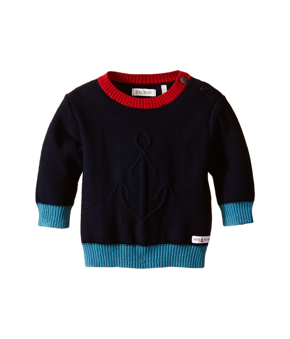 IKKS - Knit Crew Neck Sweater with Contrast Trim (Infant/Toddler) (Marine) Boy