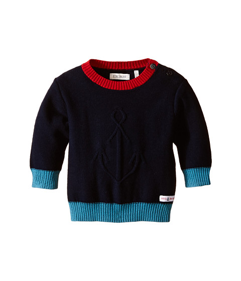 IKKS - Knit Crew Neck Sweater with Contrast Trim (Infant/Toddler) (Marine) Boy's Sweater