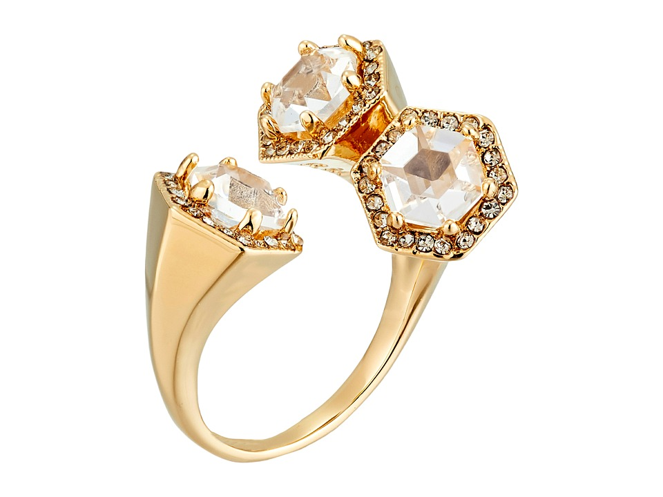 Rebecca Minkoff - Three Stone Wrap Ring (Gold Toned/Crystal) Ring