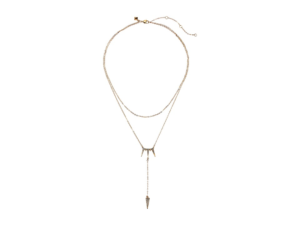 Rebecca Minkoff - Triangle Drop Necklace (Gold Toned/Crystal) Necklace