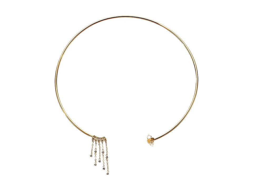 Rebecca Minkoff - Rock Fringe Collar Necklace (Gold Toned/Crystal) Necklace