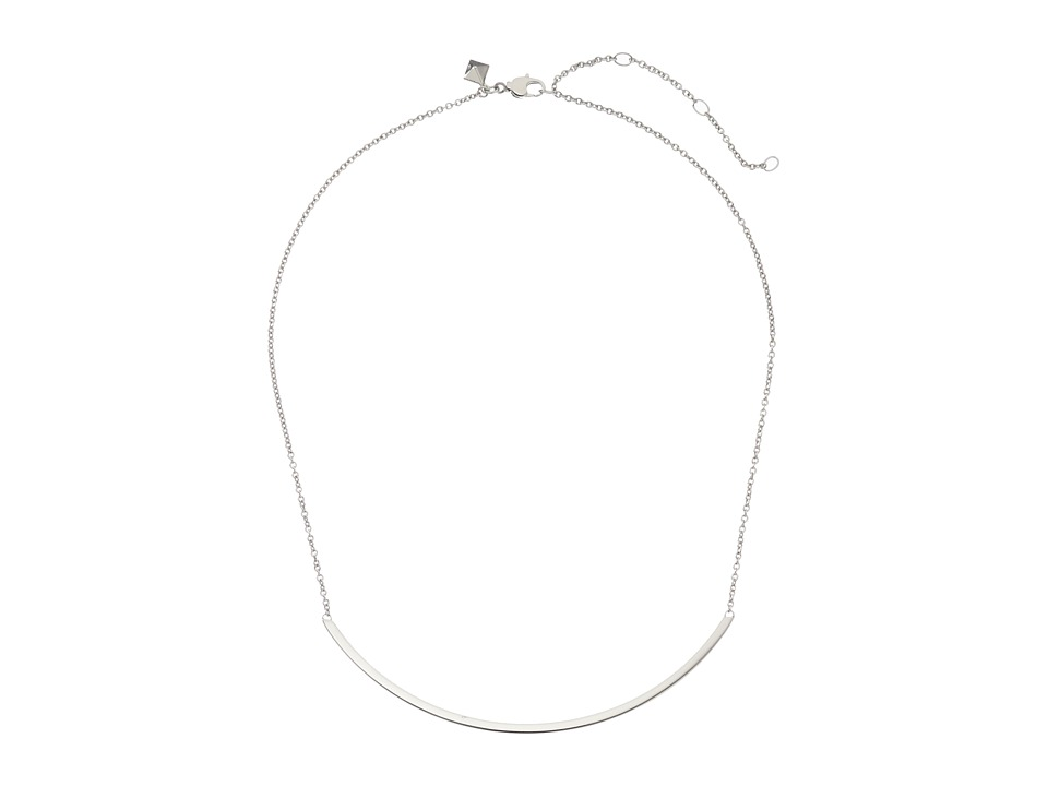 Rebecca Minkoff - Curved Bar Necklace (Imitation Rhodium) Necklace