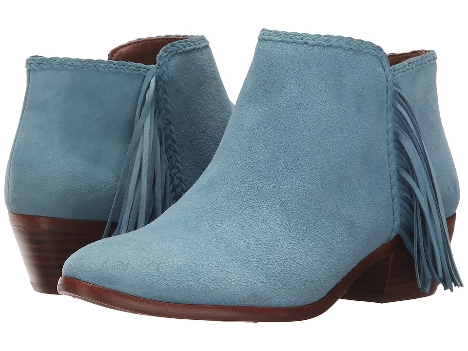 Sam Edelman Paige New Blue Kid Suede Leather Womens Zip Boots